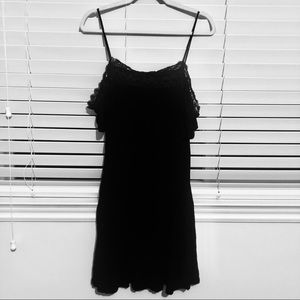 Suzy Shier Lace-Trimmed Cold Shoulder Dress